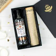 Black Smirnoff Vodka and Original Newspaper Gift Set With Personalised Gift Card