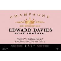 Personalised Rose Imperial Champagne Label