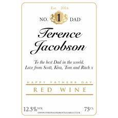 Personalised Fathers Day Red Wine Label