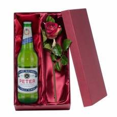 Personalised Peroni with Silk Rose Gift Set