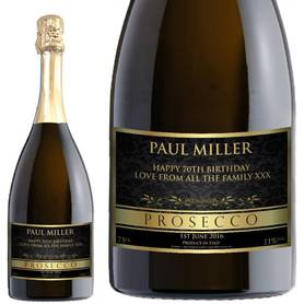 Personalised Prosecco - Gold Black Label for any occasion