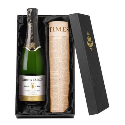 Contemporary - Personalised Cava with a Newspaper