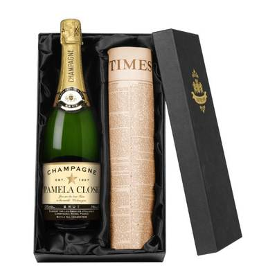 Authentic Star - Personalised Champagne with a Newspaper