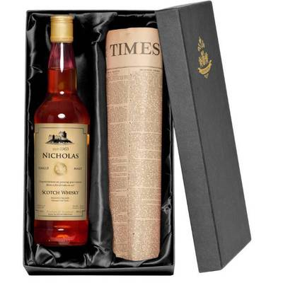 Generic - Personalised Malt Whisky with a Newspaper from your date