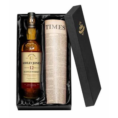 12 Year Old Personalised Single Malt Whisky with a Newspaper from your date