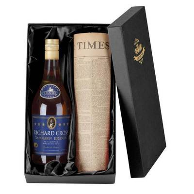 Personalised Brandy with a Newspaper from your date