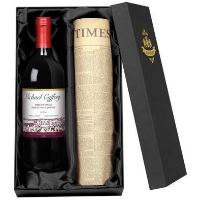 Vineyard Red - Personalised Red Wine with a Newspaper