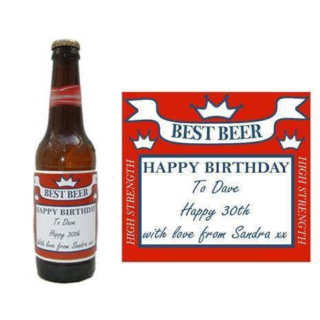 Personalised Red Square Beer Bottle Label