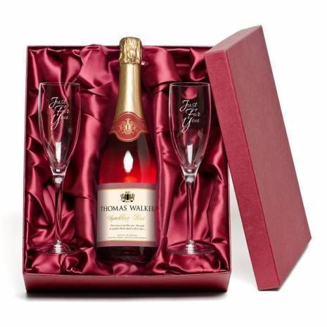 "Personalised ""Just for You"" Sparkling Rosé Wine & Engraved Flutes"