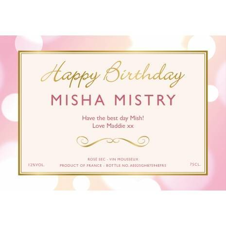 Personalised Birthday Sparkling Rosé Wine Label