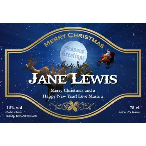 Santa Personalised Christmas Sparkling Rosé  Label