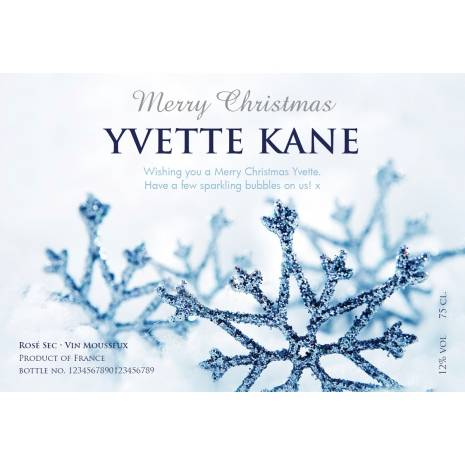 Winter Snow Personalised Christmas Sparkling Rosé Label