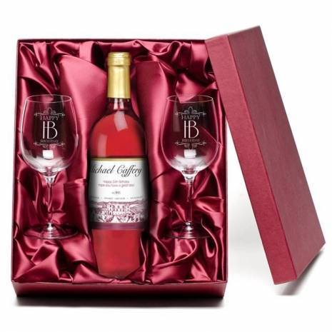 "Personalised ""Happy Birthday"" Rosé Wine & Engraved Glasses"