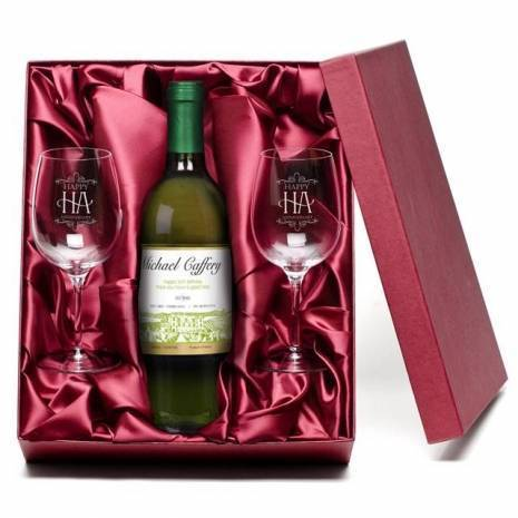 """Personalised """"Happy Anniversary"""" White Wine & Engraved Glasses"""