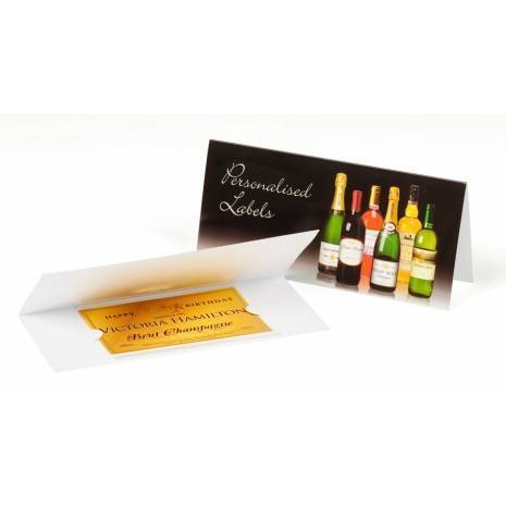 Personalised Anniversary Champagne Label with Gold Hearts