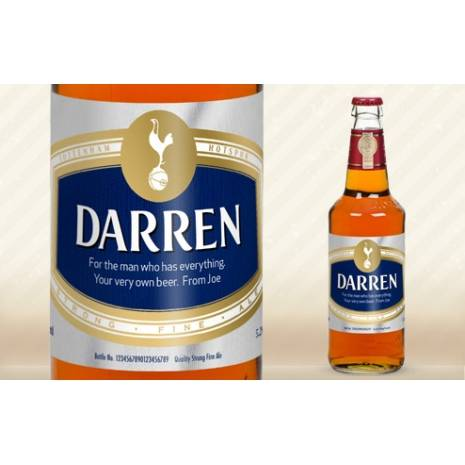 Personalised Bottle of Tottenham Hotspur Beer Modern Label
