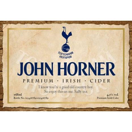 Personalised Bottle of Tottenham Hotspur Cider with modern label