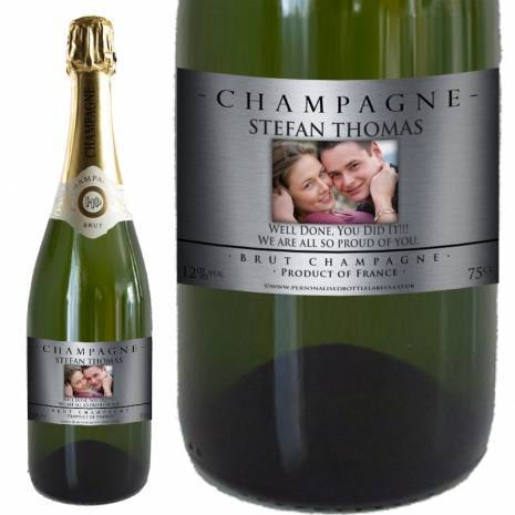 Personalised Photo Champagne - Silver