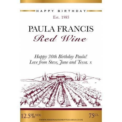 Personalised Vineyard Red Wine Label Any Occasion