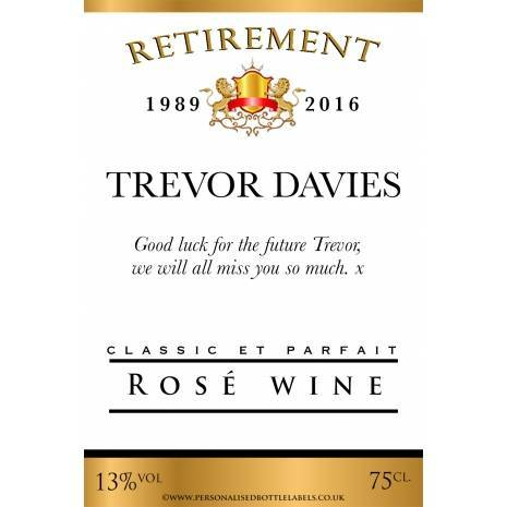 Personalised Retirement Rosé Wine Label