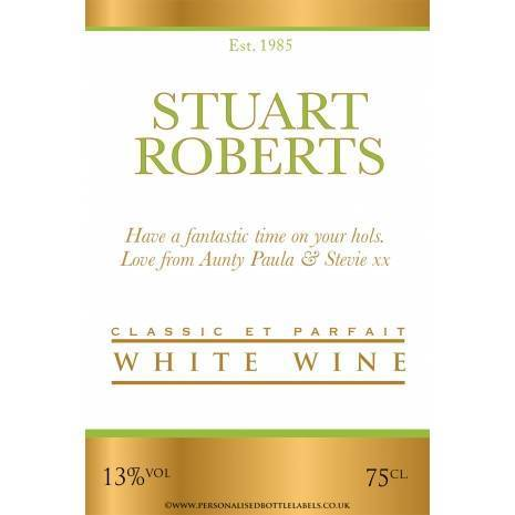 Personalised Gold+White Wine Label