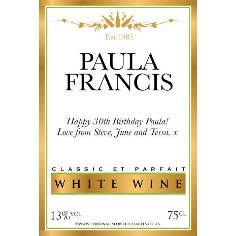 Personalised Gold Border White Wine Label