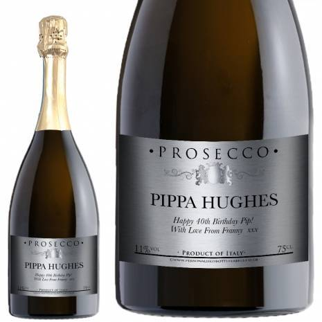 Personalised FREE Next Day Delivery Prosecco - Traditional Silver Label for any occasion