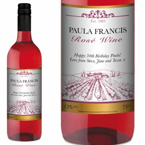 Personalised FREE Next Day Delivery Rosé Wine - Vineyard