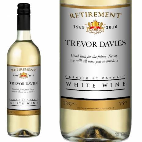 Personalised Retirement White Wine