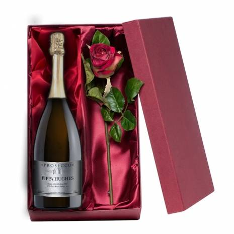 Personalised Prosecco with Silk Rose Gift Set