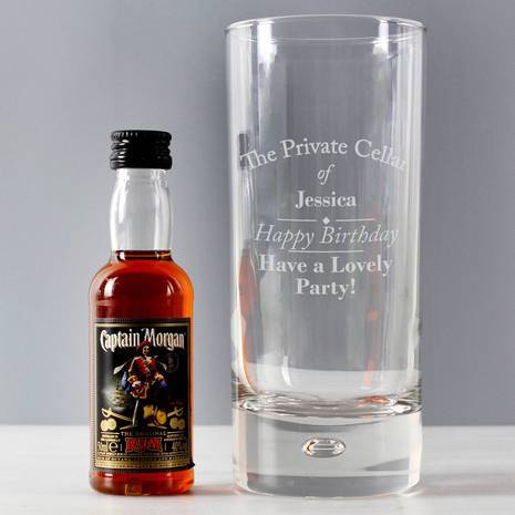 Personalised Captain Morgan Rum Private Cellar Hi Ball Glass & Rum Miniature Set