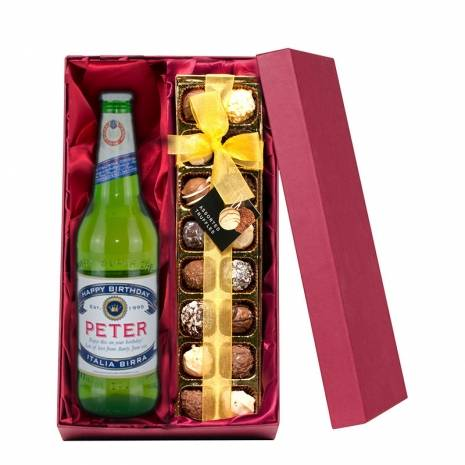 Personalised Peroni with Hand Made Truffles